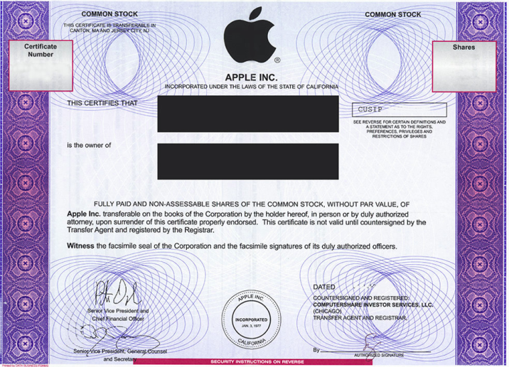 apple stock certificate small